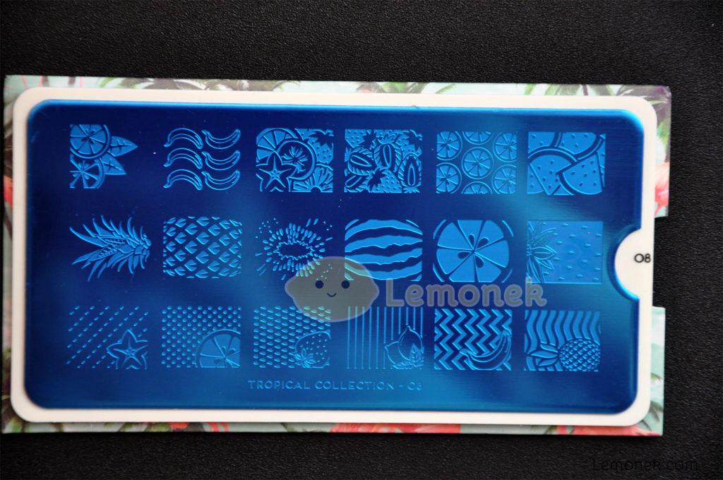 płytka moyou london blaszka matryca wzory stemplowanie nail art stamping wzory owoce tropical
