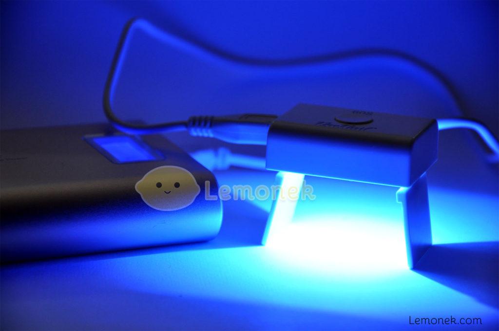 lampa neonail mini 4,4cm / 3,3cm microusb usb led 3W pudełko kabel instrukcja timer 60s nóżki recenzja lemonek marlena iskra jedna dioda niebieskie światło power bank pineng blog wordpress paznokcie nail art nails uv niebieskie blue