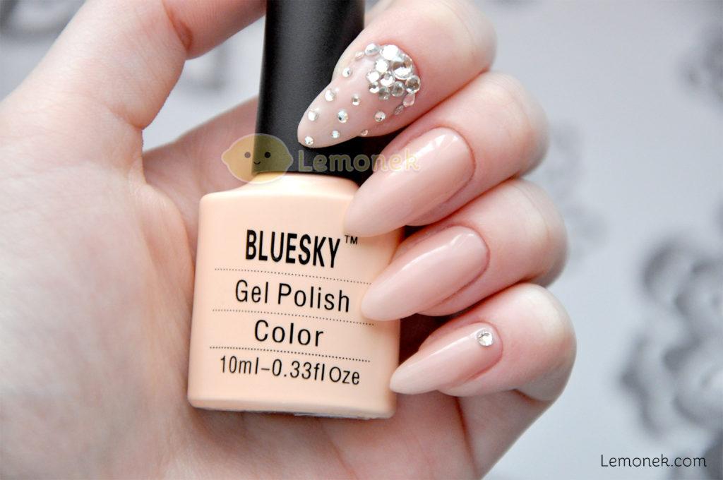 nude bluesky 80567 recenzja cyrkonie aliexpress srebrne nudziak delikatne shellac color